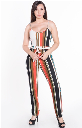 Women's Striped Sleeveless Jumpsuit with Belt Sash