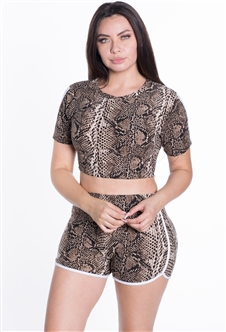 4225N-SP80325-Brown-D-Women's Python Print Dolphin Cut Shorts and Crop Top Set/1-2-2-1
