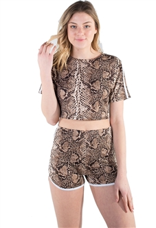 4225N-SP80325-Gold-E-Women's Python Print Dolphin Cut Shorts and Crop Top Set/ 1-2-2-1