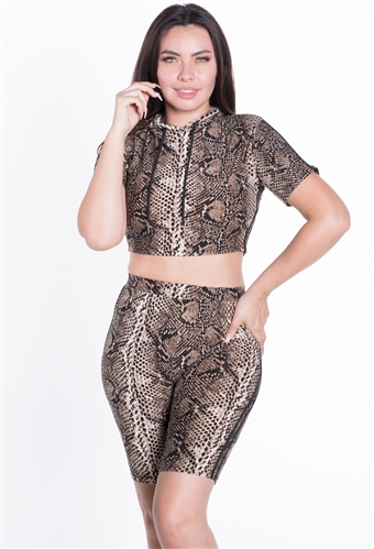 Women's Python Print Bike Shorts and Hooded Crop Top Set