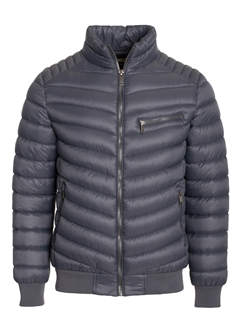 Men's Quilted Puffer Jacket with Gunmetal Zippers, Ribbed Trims and Mock Zipper on Chest