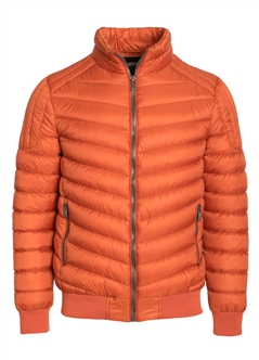 Men's Quilted Puffer Jacket with Gunmetal Zippers, Ribbed Trims  and Shoulder Quilting Detail