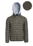Men's Quilted Puffer Jacket with Flacket and Faux Fur Lining