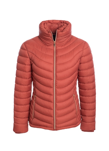 Women's Lightweight High Collar Puffer Jacket with Faux Fur Lining