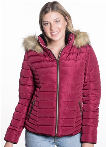 Women's High Collar Jacket with Faux Fur Lining and Stretchable Side Gathering