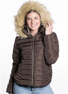 Women's High Collar Puffer Jacket with Faux Fur Lining and Detachable Hood with Faux Fur
