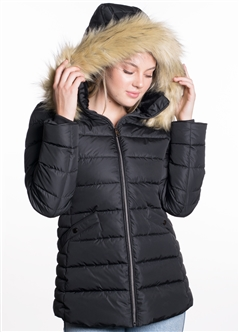 Women's Mid Length Puffer Jacket with Vegan Leather Piping and Detachable Hood