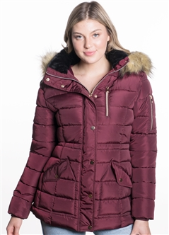 Women's Mid Length Puffer Jacket with Snap Button Closures and Detachable Hood