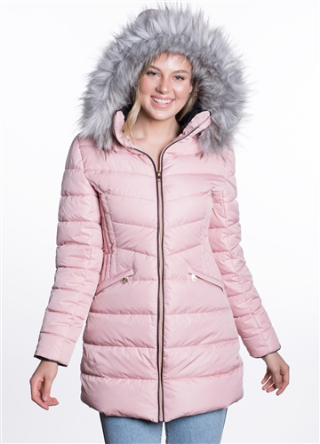 Women's Mid- Length Puffer Jacket with Detachable Hood and Vegan Leather Piping