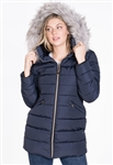 Women's Mid- Length Puffer Jacket with Detachable Hood and PU Piping
