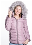 Women's Puffer Jacket with Detachable Faux Fur Hood, PU Piping and Side Gathering