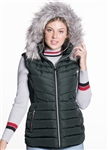 Women's Puffer Vest with Detachable Hood/