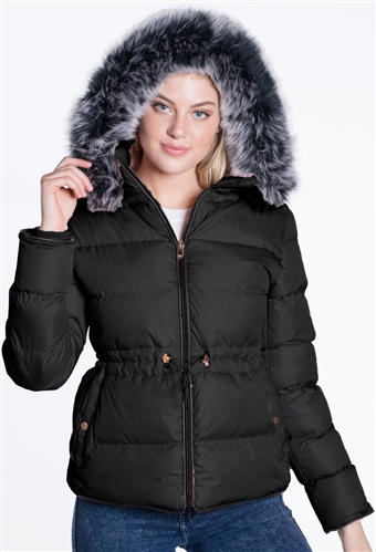 Women's Puffer Jacket with Elasticized Drawstring Waist and Detachable Hood