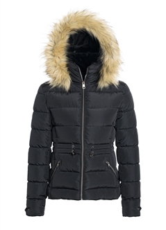 Women's Puffer Jacket with Elasticized Drawstring Waist and Detachable Hood/