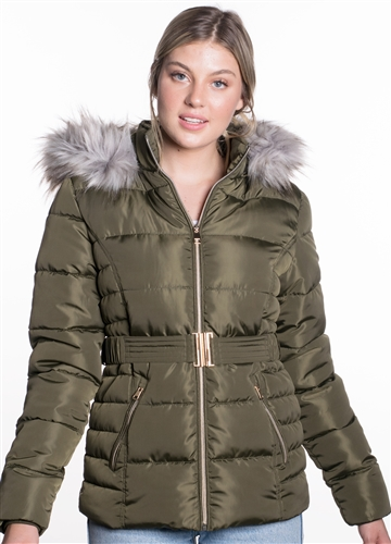 Women's Belted Puffer Jacket with Detachable Faux Fur Hood