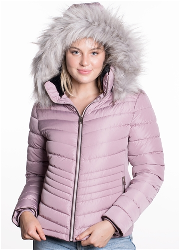 Women's Puffer Jacket with Detachable Faux Fur Hood, Vegan Leather Piping and Side Gathering