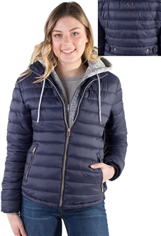 Ladies Melange Flacket Faux Fur Lined Jacket w/ Removable Hood, Packable & Elastic Side Gathering By Special One