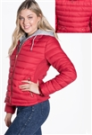 Ladies Melange Flacket Faux Fur Lined Jacket w/ Removable Hood, Elastic Side Gathering By Special One