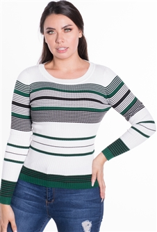 Women's Striped Ribbed Sweater Top