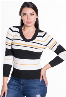 Women's Striped Ribbed V-Neck Sweater Top