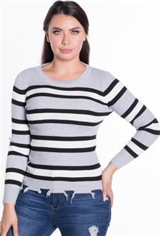 Women's Ribbed Striped Sweater Top with Tattered Hem
