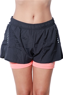4238N-274154-Black/Coral- Women's Actie-Wear Shorts with Lining / 1-2-3-1