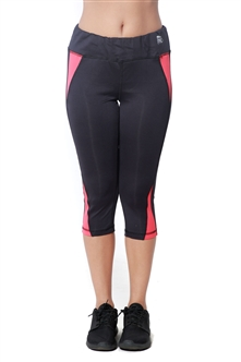 4238N-274156-Black/Coral- Women's Active Running Capri / 2-2-1