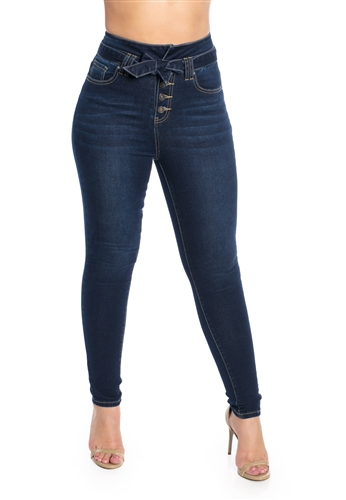Ladies High Waist Stretchable Button Fly Skinny Jeans with Self Tie Belt