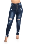Ladies High Waist Stretchable Ripped Skinny Jeans with Button Fly