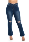 Ladies High Waist Stretchable Ripped Flare Jeans with Button Fly