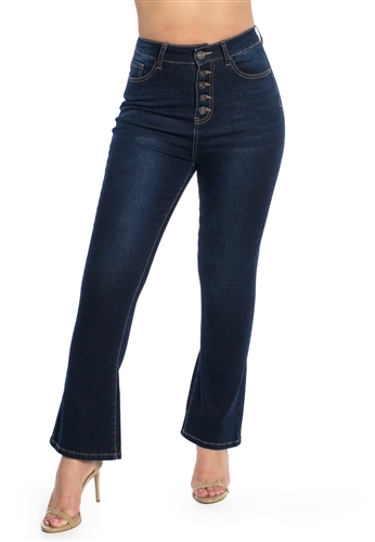 Ladies High Waist Stretchable Cropped Flare Jeans with Button Fly