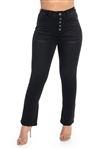 Ladies High Waist Stretchable Flare Jeans with Button Fly