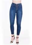 Ladies Ripped Stretchable Super Skinny Button Fly Jeans with Mock Front Pockets