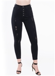 Black-Ladies Ripped Stretchable Super Skinny Jeans with Mock Front Pockets