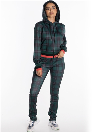 Women's Plaid Set Jacket with Hood and Pants with Contrasting Side Stripes