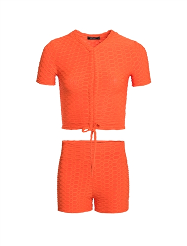 Women's Honey Comb Crop Top and Ruched Shorts Set