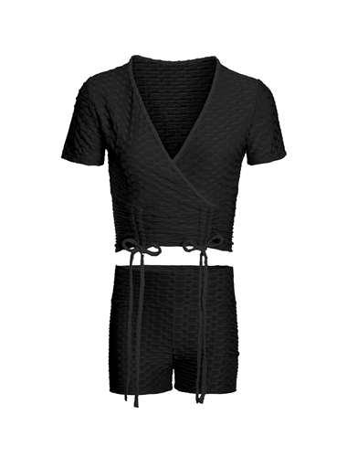 Women's Honey Comb Faux Wrap Crop Top and Ruched Shorts Set
