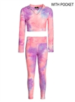 Women's Tie-Dye Honey Comb Crop Hoodie and Ruched Leggings Set