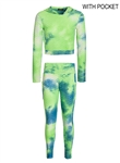 Women's Tie-Dye Honey Comb Hoodie and Ruched Leggings Set
