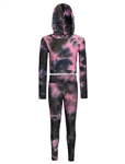 Women's Plus Size Tie-Dye Honey Comb Hoodie and Ruched Leggings Set