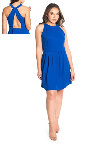 Women's Halter Neck Dress with Criss Cross Back