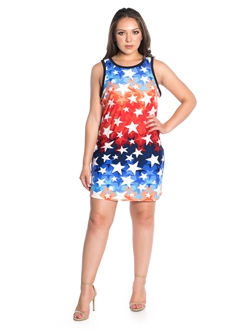 Women's Sleeveless Star Print Shirt Dress