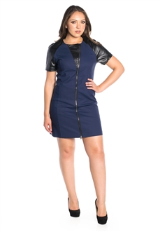 Women's Zipper Dress with Vegan Leather Accents/