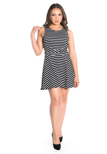 Women's Stripes Skater Dress with Side Cut Outs