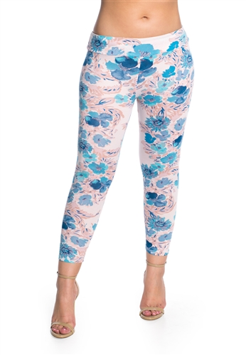 Women's One Size Pastel Floral Print Leggings