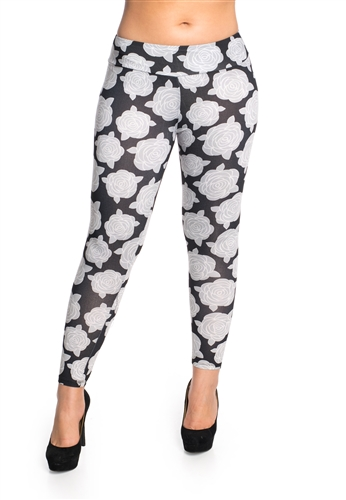 Women's One Size Floral Printed Leggings