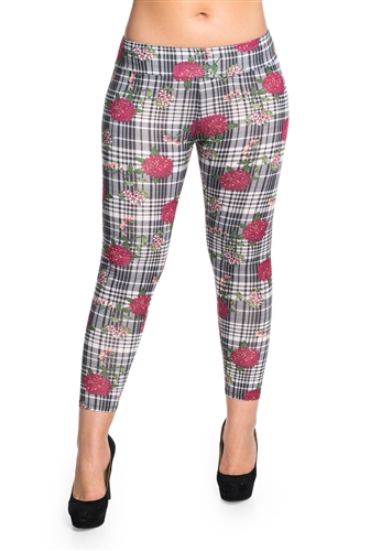 Women's Floral and Checkered Printed Leggings