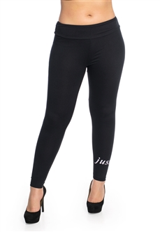 "Women's One Size Leggings with ""Just Yes"" Print"