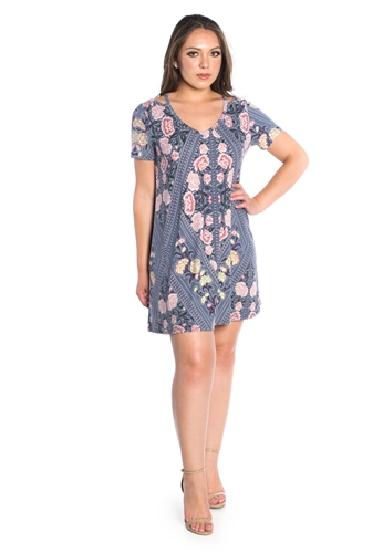 Women's Floral Printed Shirt Dress with Cold Shoulder Cut Outs
