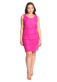 Women's Lace Dress with Self Tie Sash Back Detail